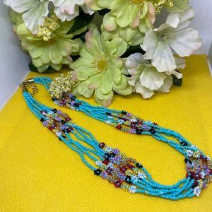Flowers Seed Bead 6 Strand Bright Colors Necklace